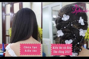 Dạy bới tóc cô dâu tự nhiên trẻ trung - kiểu tóc cô dâu đẹp xu hướng thu đông 2017