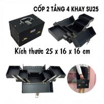 Cốp 2 Tầng 4 Khay Su25 - Đen Lì - 25x16x16cm