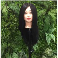 Đầu canh, đầu ma nơ canh Tóc Thật - 50 cm - Đen, đầu mannequin